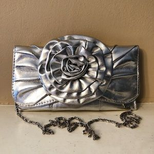 Silver floral clutch